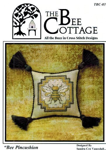 The Bee Cottage - Bee Pincushion-The Bee Cottage - Bee Pincushion, queen bee, bee hive, cross stitch