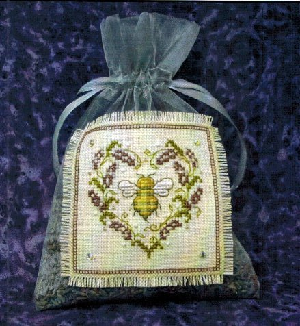 The Bee Cottage - Lavender Bee Sachet Kit-The Bee Cottage - Lavender Bee Sachet, bee hive, flowers, aromatherapy cross stitch,