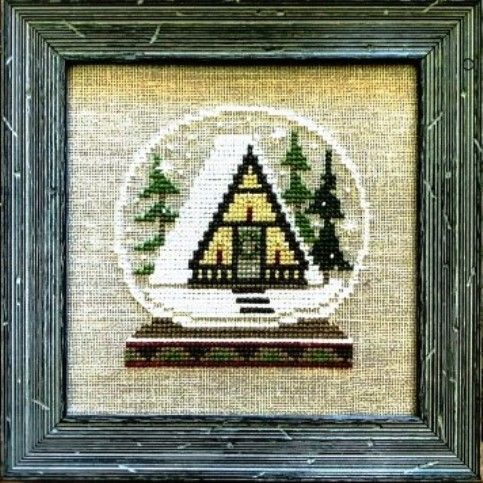 Bent Creek - A-Frame Lodge Globe Kit-Bent Creek - A-Frame Lodge Globe Kit, winter, snow, cabin, lodge, skiing, cross stitch