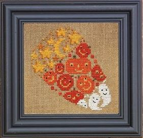 Bent Creek - The Candy Corn of Mischief Kit-Bent Creek - The Candy Corn of Mischief Kit, halloween, Halloween candy, candy corn, cross stitch kit, ghosts, pumpkins,