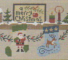 Bent Creek - The Christmas Mantle - Kit 3 Santa & the Reindeer-Bent Creek - The Christmas Mantle - Kit 3 Santa  the Reindeer, Christmas, cross stitch, Santa Claus, Rudolph,