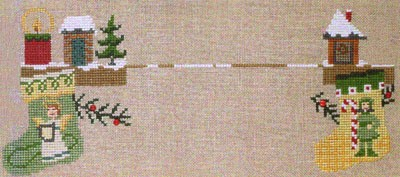 Bent Creek - The Christmas Mantle - Kit 2 Angel & Elf Stocking-Bent Creek - The Christmas Mantle - Kit 2 Angel  Elf Stocking , Christmas, decorating, cross stitch
