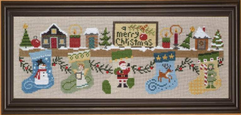 Bent Creek - The Christmas Mantle - Kit 1 Snowman Stocking-Bent Creek - The Christmas Mantle - Kit 1 Snowman Stocking, Christmas, decorating, snowman, cross stitch