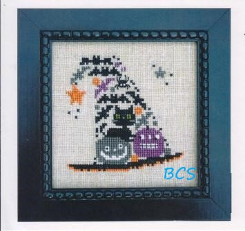 Bent Creek - Witch's Hat of Bats Kit-Bent Creek - Witchs Hat of Bats Kit, Halloween,  cats, bats, pumpkins, hats, cross stitch