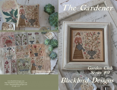 Blackbird Designs - Garden Club Series Part 09 - The Gardener-Blackbird Designs - Garden Club Series Part 9 - The Gardener, flowers, gardening, planting, plants, flower bed, dirt, cross stitch