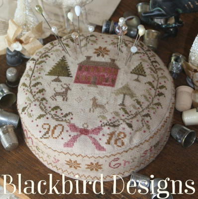 Blackbird Designs - Early Christmas Morning-Blackbird Designs - Early Christmas Morning, pin cushion, Christmas, cross stitch