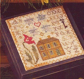 Blackbird Designs - American Star-Blackbird Designs - American Star - house, patriotic, flowers, primitive, cross stitch