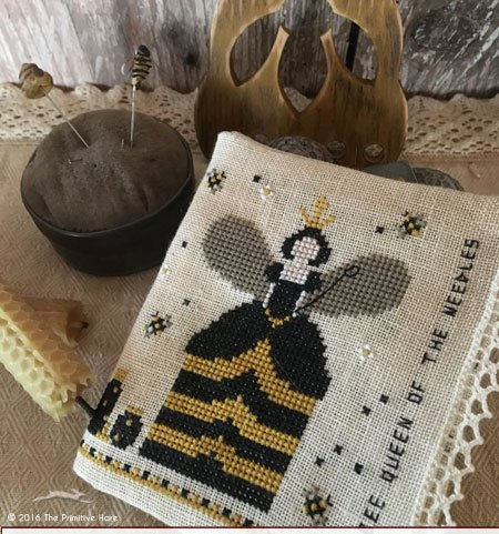The Primitive Hare - Bee Queen of the Needles-The Primitive Hare - Bee Queen of the Needles, Queen bee, pin cushion, primitive, needlebook, cross stitch