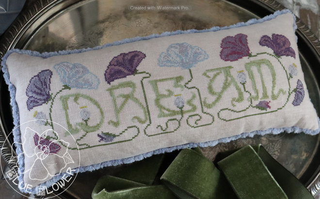 The Blue Flower - Language of Flowers - Dream-The Blue Flower - Language of Flowers - Dream, poppies, sleep, pillow, dreams, imagination, cross stitch, 2021 FALL EXPO RELEASE