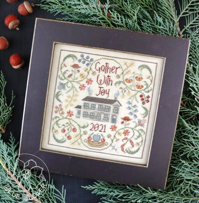The Blue Flower - Gather With Joy-The Blue Flower - Gather With Joy, Thanksgiving, family, togetherness, home, friends, autumn, fall, pumpkin, cross stitch