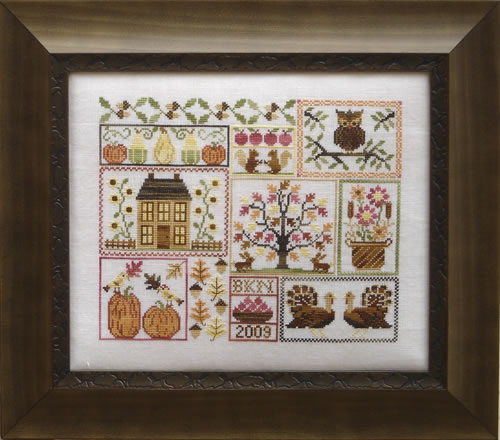 Blue Ribbon Designs - Autumn Leaves and Sunflower Seeds - Cross Stitch Pattern