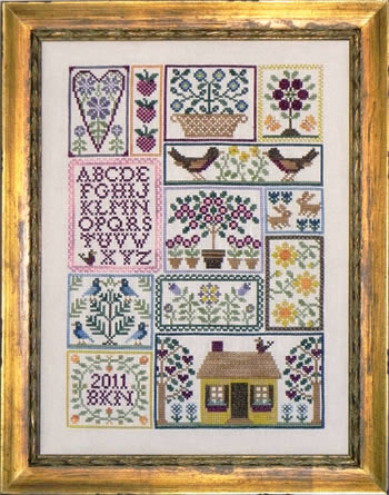 Blue Ribbon Designs - Berries, Birds, and Blooms - Cross Stitch Patterns-Blue Ribbon Designs, Berries, Birds, and Blooms, hearts, sampler, alphabet, houses, needlework smalls, scissor fob, floss ring tag, needlebook, pinkeep, trees, springtime, Cross Stitch Patterns