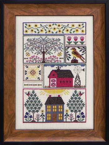 Blue Ribbon Designs - Sunflower Serenade - Cross Stitch Patterns-Blue Ribbon Designs, Sunflower Serenade, summertime, red barn, windmill, farm, prairie, scissor fob, pin pillow, bird, tree, flowers, daisies, Cross Stitch Patterns