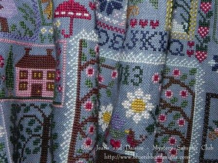 Blue Ribbon Designs - Blue Jeans and Daisies - Mystery Sampler Club - Part 1 of 3 --Blue Ribbon Designs - Mystery Sampler Club - Blue Jeans and Daisies - Part 1 of 3 - Cross Stitch Pattern, Springtime,