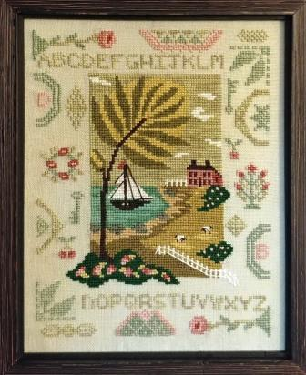 By The Bay Needleart - By The Bay Quaker Sampler-By The Bay Needleart - By The Bay Quaker Sampler, ocean, sail boat, quaker, flowers, cross stitch