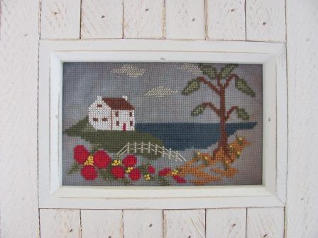By The Bay Needleart - Home By The Sea-By The Bay Needleart - Home By The Sea, ocean, trees, home on a hill, cross  stitch chart,