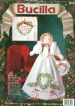 Bucilla - Nicole - Stamped Embroidery Doll Kit-Bucilla - Nicole - Stamped Embroidery Doll Kit, Christmas, stamped, cross stitch, crafts,