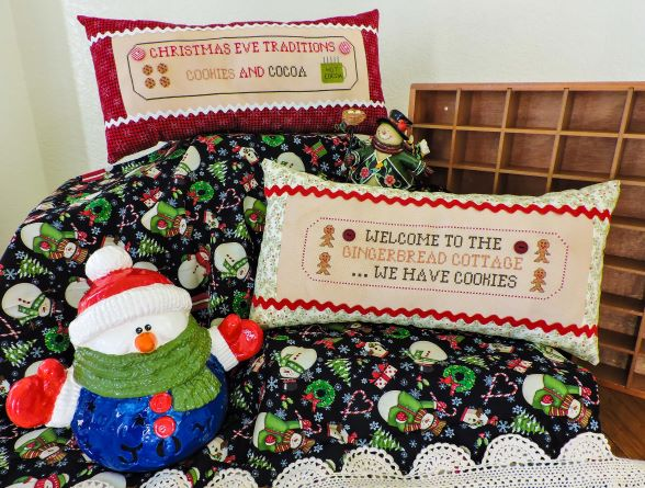 Boulder Valley Stitching - Christmas Traditions-Boulder Valley Stitching - Christmas Traditions, pillows, gingerbread, Christmas, cookies, cocoa, cross stitch