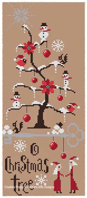 Barbara Ana Designs - O Christmas Tree - Cross Stitch Pattern-Barbara Ana Designs, O Christmas Tree, Christmas, snow, snowman, christmas ornaments, cardinal, Cross Stitch Pattern