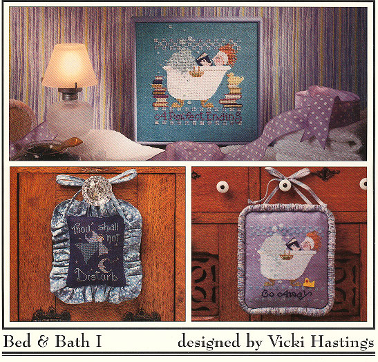 Cross-Eyed Cricket - Bed & Bath I - Cross Stitch Pattern-Cross-Eyed Cricket, Bed & Bath I,bathtub, bubble bath, do not disturb, rubber ducky, books, reading, suds, calm, Cross Stitch Chart