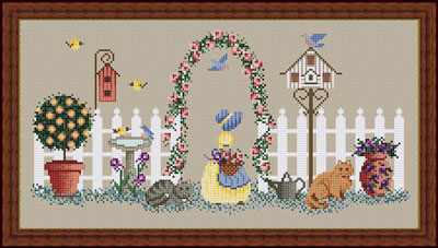 Whispered by the Wind - Becky's Garden - Cross Stitch Pattern-Whispered,by, the, Wind, Becky's, Garden, flowers, bluebird,bird house, cats, white, picket fence, bird bath, little girl, yellow dress, sunbonnet, tree, Cross Stitch Pattern