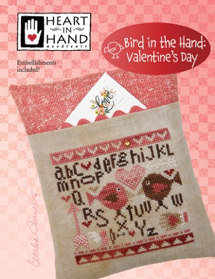 Heart in Hand Needleart - Bird in the Hand Valentine's Day-Heart in Hand Needleart - Bird in the Hand Valentines Day, love, series, birds, cross stitch