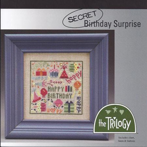 The Trilogy - Secret Birthday Surprise - Cross Stitch Kit-The Trilogy - Secret Birthday Surprise, Happy Birthday, party, party hat, balloons gifts, birthday cake, cupcake, streamers, confetti, Cross Stitch Kit