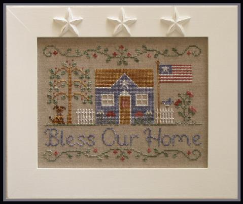 Country Cottage Needleworks - Bless Our Home-Country Cottage Needleworks,Bless,Our,Home,Cross,Stitch, Pattern, prayers, house, flag, American, flowers, patriotic