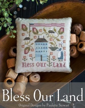 Plum Street Samplers - Bless Our Land-Plum Street Samplers - Bless Our Land, USA,  Betsy Ross, American Flag, patriotic, cross stitch
