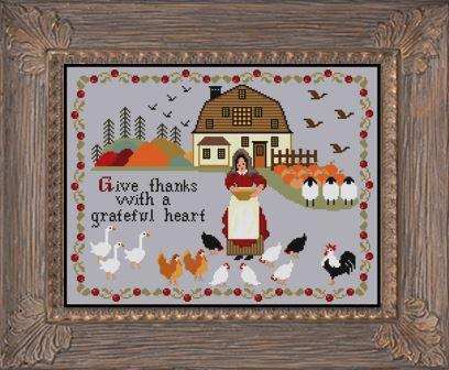 Twin Peak Primitives - Blessing on the Pastoral Farm-Twin Peak Primitives - Blessing on the Pastoral Farm, animals, grace, prayers, cross stitch