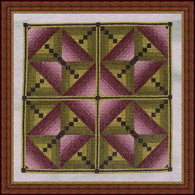 Whispered by the Wind - Butterfly Bush - Cross Stitch Pattern-Whispered,by,the,Wind,Butterfly,Bush, pink, green triangles, Cross Stitch Pattern