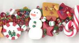 Just Another Button Company - Holiday Bracelet Kit-Just Another Button Company,  Holiday Bracelet Kit, Christmas bracelet, beads & buttons, Santa Claus, snowman, christmas trees, christmas candy, presents,