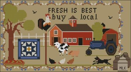 Twin Peak Primitives - Buy Local-Twin Peak Primitives - Buy Local, quilt, farm, cows, tractor, chickens, rooster, dogs, cross stitch