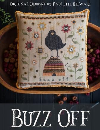 Plum Street Samplers - Buzz Off-Plum Street Samplers - Buzz Off, crow. fall, pumpkin, cross stitch