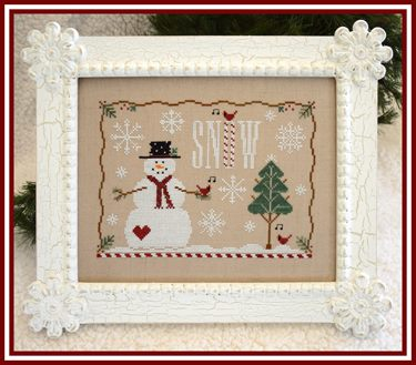 Country Cottage Needleworks - Snow Days-Country Cottage Needleworks - Snow Days, snowman, winter, snow flakes, cardinal, Christmas tree, forest, cross stitch