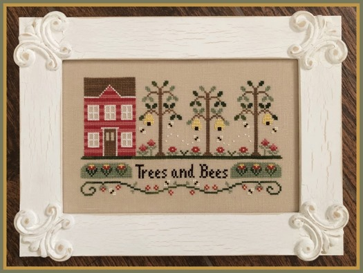 Country Cottage Needleworks - Trees And Bees-Country Cottage Needleworks - Trees And Bees, park, outdoors, nature, beehive, forest, cross stitch