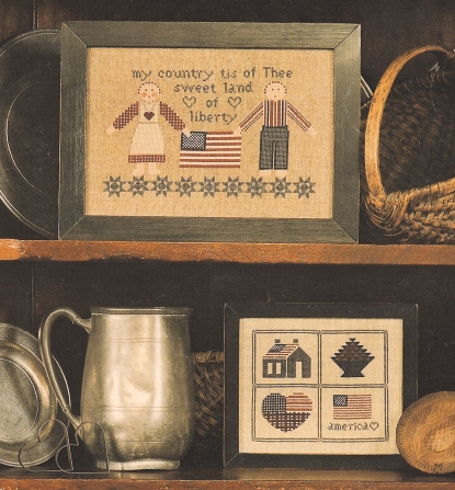 Cross-Eyed Cricket - Patriotic Sampling - Cross Stitch Pattern-Cross Eyed Cricket,Patriotic Sampling, americana, patriotic, country, american flag, patchwork heart, my country tis of thee, sweet land of liberty,liberty dolls, primitive crafts, Cross Stitch Chart
