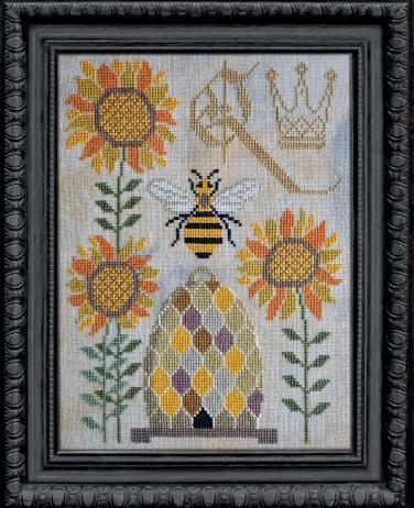 Cottage Garden Samplings - A Time For All Seasons Part 5 - Bee-sy Spring-Cottage Garden Samplings - A Time For All Seasons Part 5 - Bee-sy Spring, bees, beehive, sunflowers, summer, flowers, honey, queen bee, queen, cross stitch