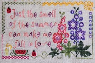 Cottage Garden Samplings - My Garden Journal - Part 07 of 12 - July's Delphinium - Cross Stitch Pattern-Cottage Garden Samplings, My Garden Journal, July's Delphinium, Cross Stitch Pattern