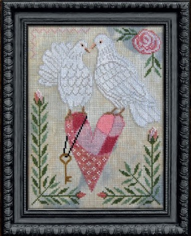 Cottage Garden Samplings - A Time For All Seasons Part 2 - Love Is In The Air-Cottage Garden Samplings - A Time For All Seasons Part 2 - Love Is In The Air, Valentines Day, February, doves, patchwork heart, cross stitch