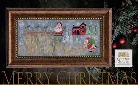 Cottage Garden Samplings - Merry Christmas-Cottage Garden Samplings - Cottage Garden Samplings - Merry Christmas, Santa Claus, winter, reindeer, Rudolph, Christmas eve, cross stitch