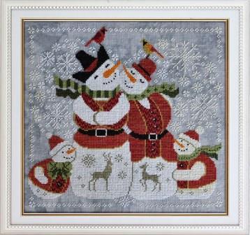 Cottage Garden Samplings - Snow In Love-Cottage Garden Samplings - Snow In Love, snowman, snow family, winter, snowflakes, quaker, cross stitch