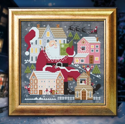 Cottage Garden Samplings - Storytime with Santa-Cottage Garden Samplings - Storytime with Santa, Santa Claus, Christmas Eve, reindeer, houses, sleigh, cross stitch