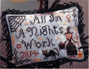 Cherished Stitches - All in a Night's Work-Cherished Stitches, All in a Nights Work, Halloween, witch, black cat, spider webs, witchs brooms, Cross Stitch Pattern