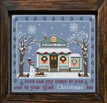 Twin Peak Primitives - Christmas Ballad-Twin Peak Primitives - Christmas Ballad, general store, town, winter, cross stitch
