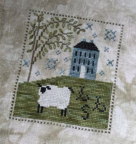 Chessie & Me - Sheepish Manor Kit-Chessie  Me - Sheepish Manor Kit, lamb, home, hill, tree, cross stitch