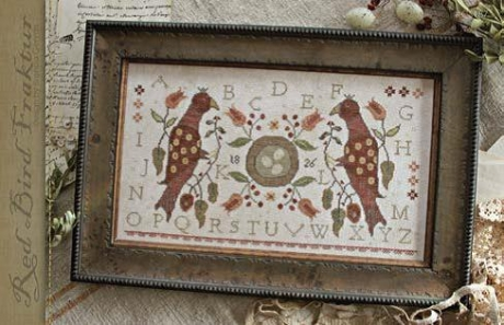With Thy Needle & Thread - Red Bird Fraktur-With Thy Needle  Thread - Red Bird Fraktur, birds, primitive, cross stitch