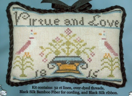 Cherished Stitches - Virtue and Love Kit-Cherished Stitches - Virtue and Love Kit, birds, family, pin cushion, cross stitch