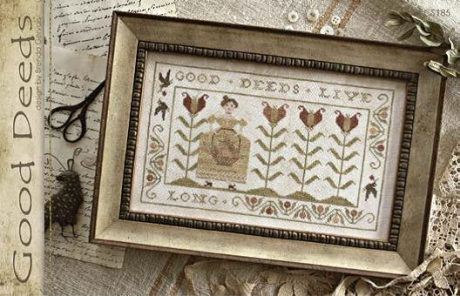 With Thy Needle & Thread - Good Deeds-With Thy Needle  Thread - Good Deeds, flowers, tulips, primitive, garden, lady, cross stitch