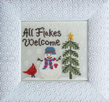 Cottage Garden Samplings - Christmas Love - All Flakes Welcome - Cross Stitch Pattern-Cottage Garden Samplings, All Flakes Welcome, winter, snowman, Christmas,bird, snowflakes, pine tree, Cross Stitch Pattern